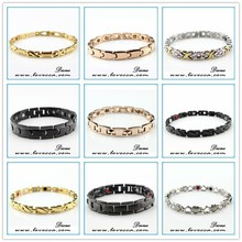New arrival 2015 fashion healthy design jewelry golden bracelet germanium,negative ion,magnetic far
