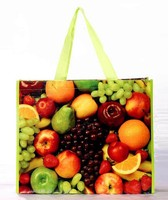 2015 new beautiful fruits full color printing polypropylene woven shopping packaging bags with apple green color handles