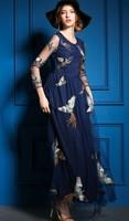 XL!Top Quality New Fashion Formal Evening Dress 2015 Summer Women Phoenix Embroidery Gauze Long Sleeve Party Evening Dress