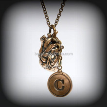 Promotional cheap cost give away item 3D charm letter C necklace