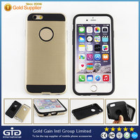[NP-2219] Golden Brushed PC Hard Case with TPU Interior for Apple for iPhone 6