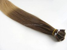 sell best colored two tone hair weave 100% hand made pre bonded hair extensions