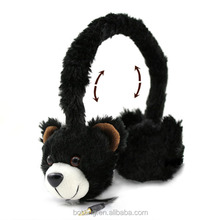Warm earmuff retractable headphone with built in wire coil and elastic wire