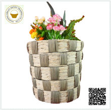 2015 New coming christmas straw pots plant in round shape yellow color