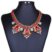 Fashion Brand Color Crystal Knitting Joker Necklace Shinning Stud Jewelry Set