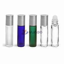 Glass Bottles, Glass Roll On Containers w/ Balls and Brushed Silver Polypro Caps