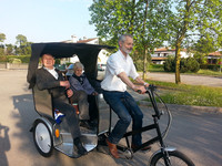 passenger three wheel bicycle with 2 seat