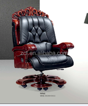 9096A Chinese Style Genuine Leather Wooden Base Executive Chair