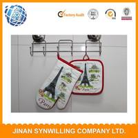 2pcs printing kitchen set pot holder/oven mitten,printing kitchen set oven glove and pot hloder