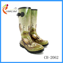 2015 New Design Grassland Ground Has Horse Printing With Telescopic Buckle Cheap, High quality Rubber Rain Boot For Women
