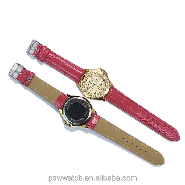 Golden rhinestones watch case Japan movt quartz red color leather watch women watches