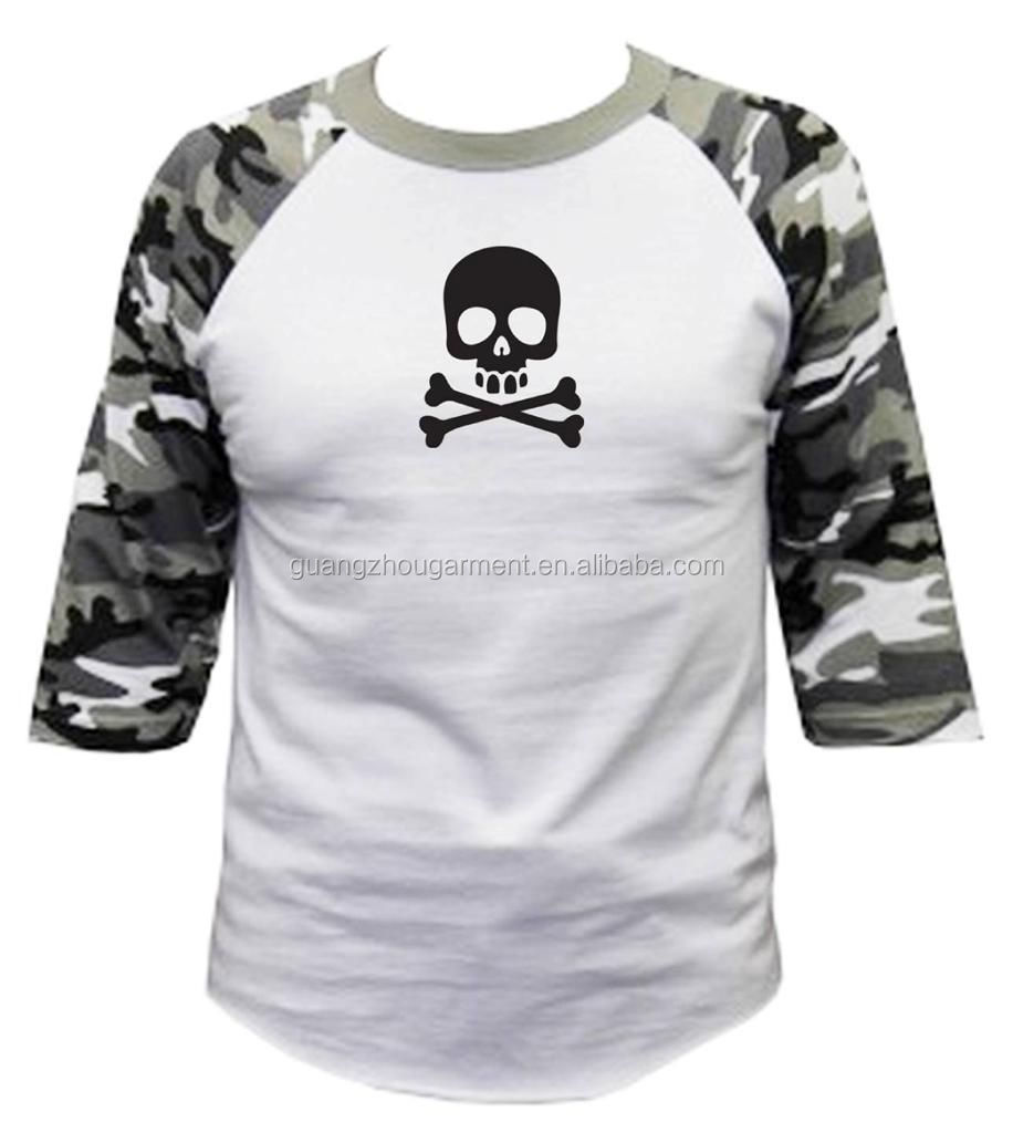 Wholesale men women o neck printed skull camouflage 3 4 for Printable t shirts wholesale