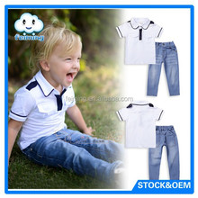 2015 Stylish babies matching clothing sets with jeans