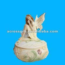 Elegant angel resin jewelry box with music