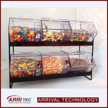 retail store wholesale floor standing black metal rack 6 sweets food display dispenser case clear acrylic candy box package