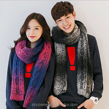 fashion couple winter scarf, changed colors handmade wool scarf
