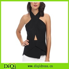 Sexy fashionable backless tops apperals cut-out women blouse/blusas