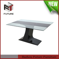 modern luxury glass top wood frame dining table