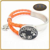 Whole sale newest design PU leather stainless steel bracelet loom