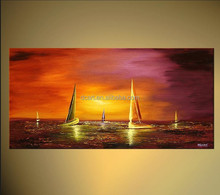 Customized hand painted boat and sea oil painting