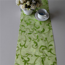 Lily of the valley flower pattern table runner disposable crystal organza green color