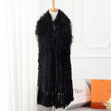 Wholesale fashion black lady knitted rabbit fur vest with mongolian lamb fur collar