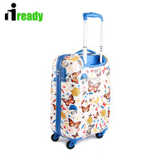 Butterfly printing portable hand trolley wheeled luggage for student girls and kids
