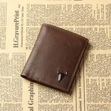 Vintage Retro 100% Genuine Oil Wax Leather Cowhide Men Clutch Short Bifold Wallet Wallets Purse Card Holder For Man
