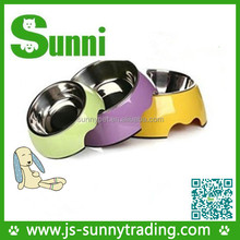 High quality pet feeding stainless steel and melamine travel dog bowl