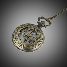Rome Style Flip Pocket Watch Necklace Alloy Hollow Out Quartz Watches