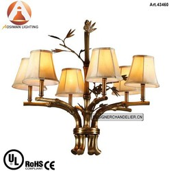Luxury Antique Copper Chandelier with White Fabric Shade