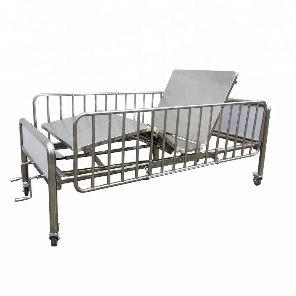 Calidad Superior cama de hospital colina habitación dos manivela manual Acero inoxidable Hospital CY-A114B