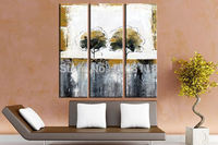 3 Panel floral painting decorative art set modern wall art Green tree rusty abstract hand painted Canvas Oil Painting