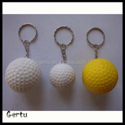 2015 custom logo mini golf stress ball keychain ,sportballs keychain