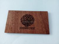 Wood Business Card - Dark Beech Laser Engraving