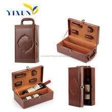 2 bottle empty wooden wine boxx/mdf wine case for 2 glass