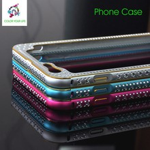 bling reflect metal bumper case push & pull back cover for iphone mobile phone