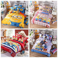 1.5-1.8M bed sheet 4 pcs set minions bedding despicable me bedding TF-W01151015001