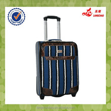 New Design Stripe PU Material Silver Color Lock Competitive Factory Price Trolley Luggage