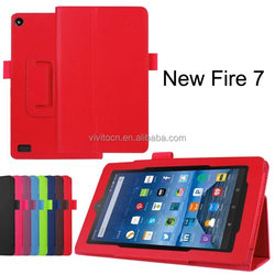For Amazon Kindle New Fire 7 inch Leather Case, 2015 New Flip Leather Cover Case for Amazon Kindle New Fire 7 inch