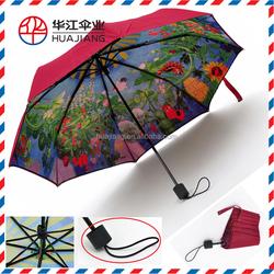 compact folding umbrella with full printing umbrella for woman's summer day umbrella