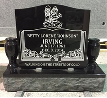 American Style Headstone, Indian Black Line Carving Tombstone & Monument