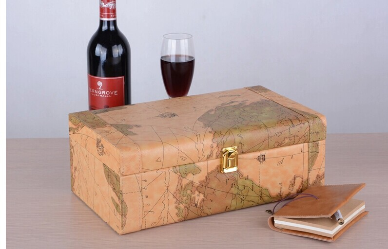 Hand crafted wine gift box features elegant old world map design qq20150127100911g gumiabroncs Gallery