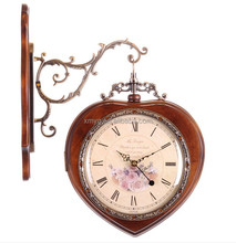Modern Style Decorative Two Sides Wooden Apple Shape Wall Clock