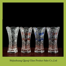 Six edge tooth mouth rose glass vase