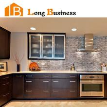 LB-AL1060 Stainless steel frame door modern modular wood veneer kitchen cabinet