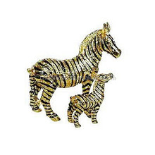 Mother & baby zebra jewelry hinged trinket box metal golden plaing hand made