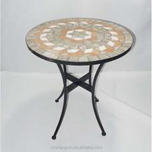 Round Metal Garden Table, Folding Mosaic Tabe