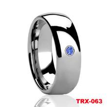 Hombres de cristal azul de alta calidad encajado hierro wolframio anillo