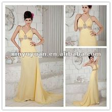 Modern Fashionable Halter Open Back Backless Yellow Chiffon Sexy Evening Dresses Prom Gown XYY04-190